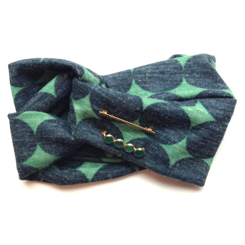 Retro Print Turban Style Headband - Art Deco Embelishments