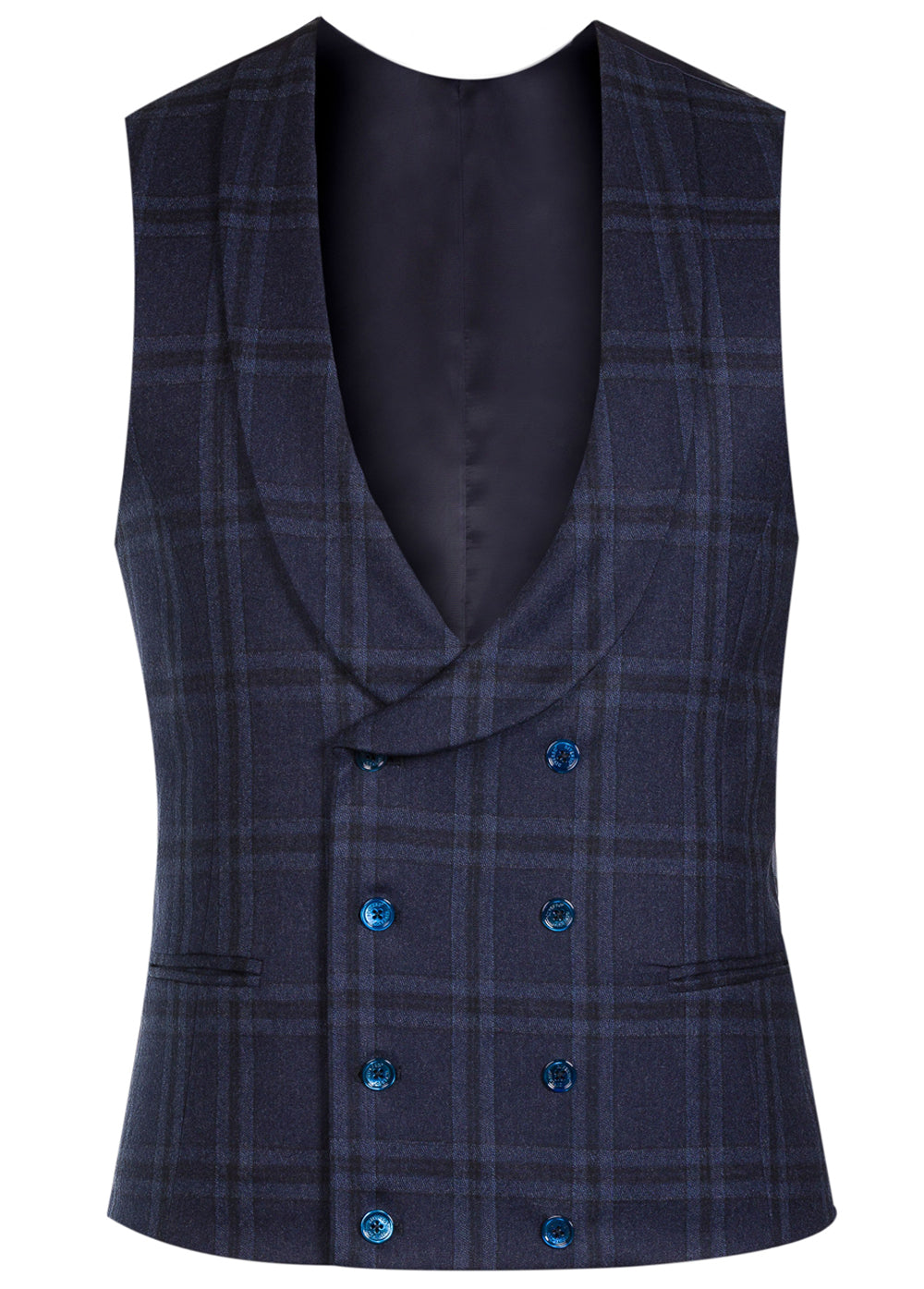 Navy Check Flannel Double Breasted Waistcoat