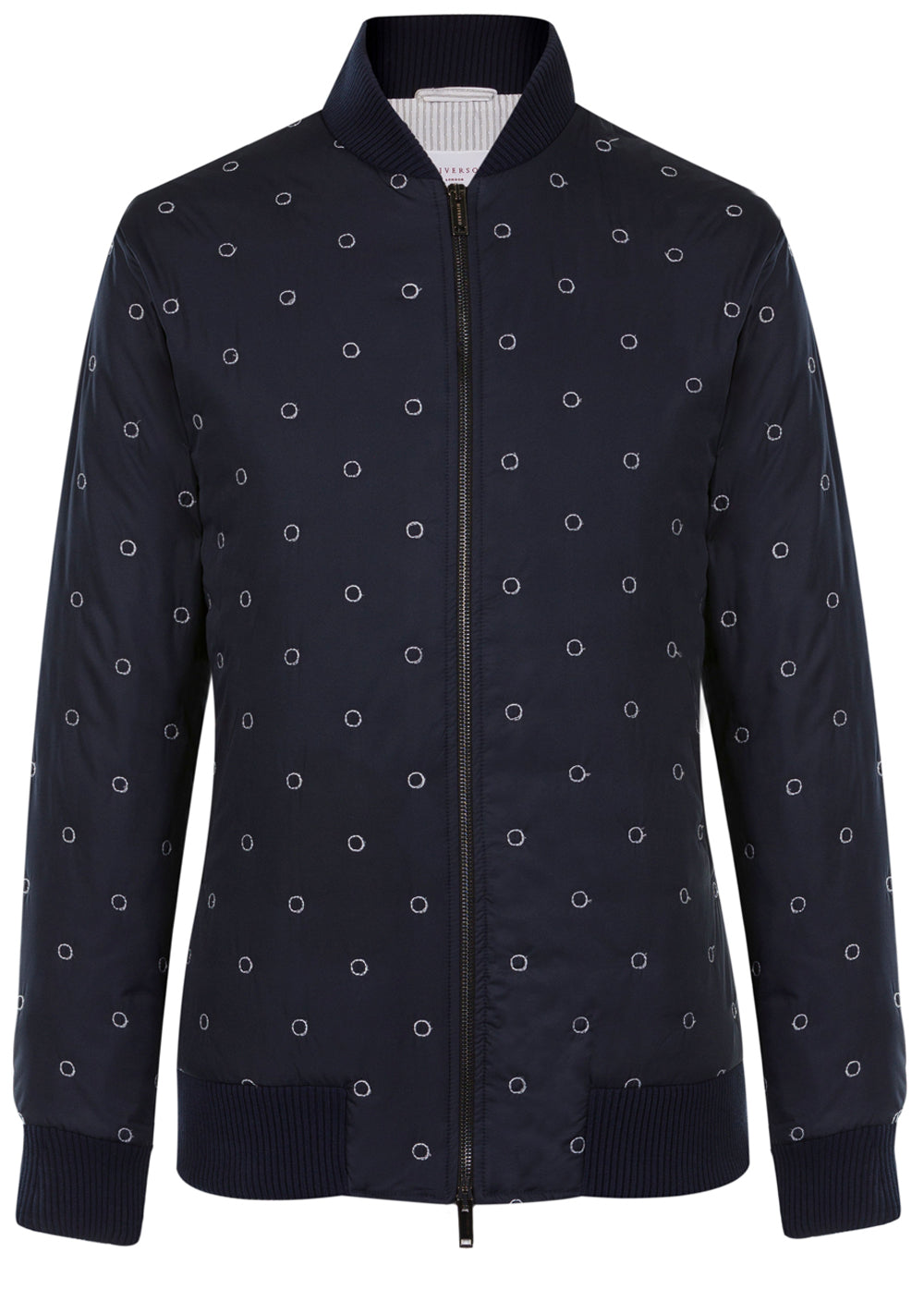 Navy Embroidered Bomber