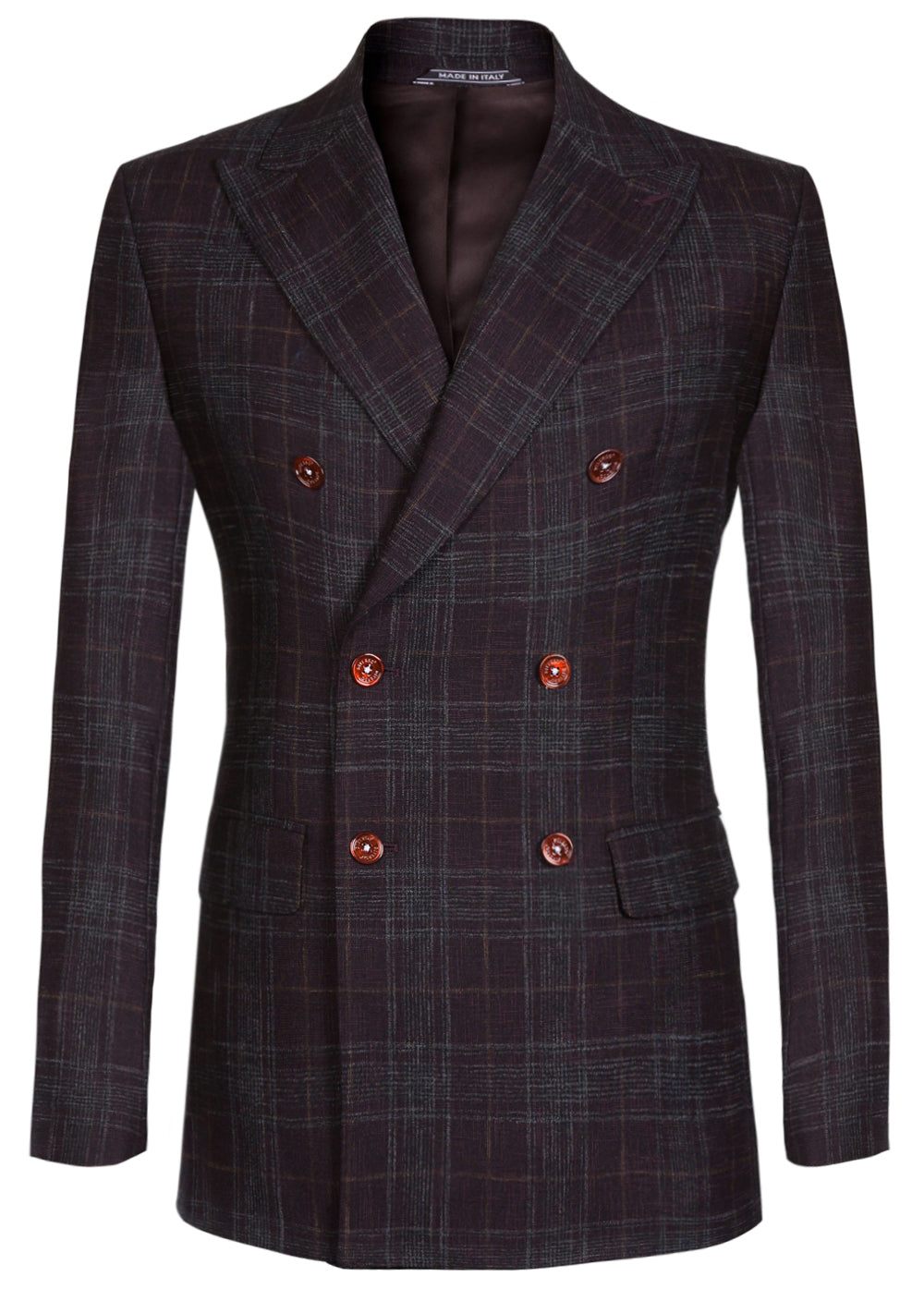 Maroon Rustic Check Double Breasted Wool Blazer