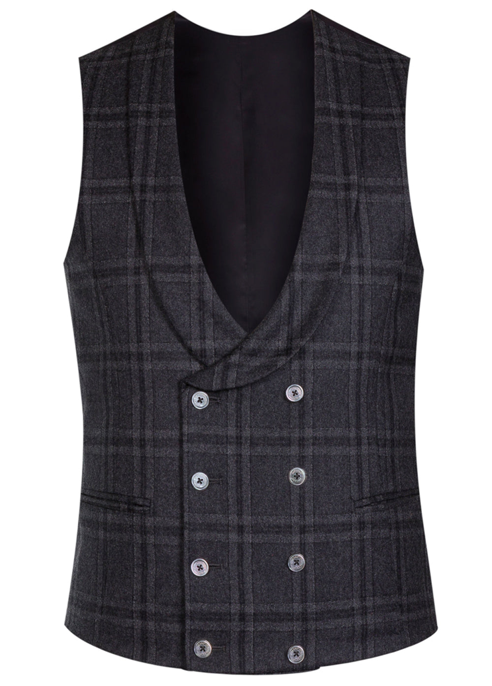 Grey Check Flannel Double Breasted Waistcoat