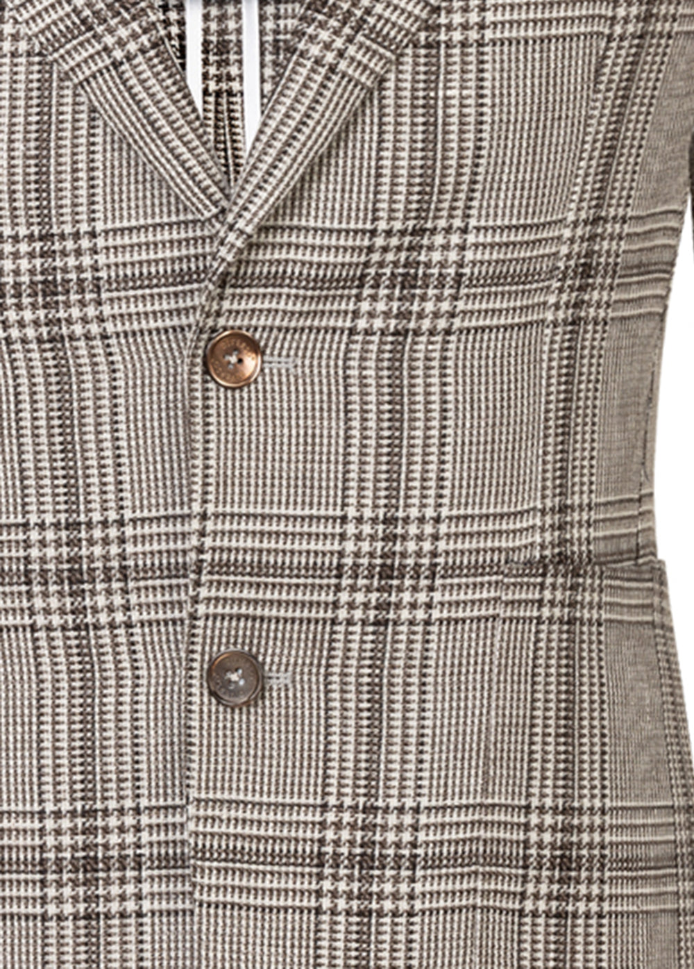 Brown & Ivory Check Wool-Linen Ultra Peak Blazer