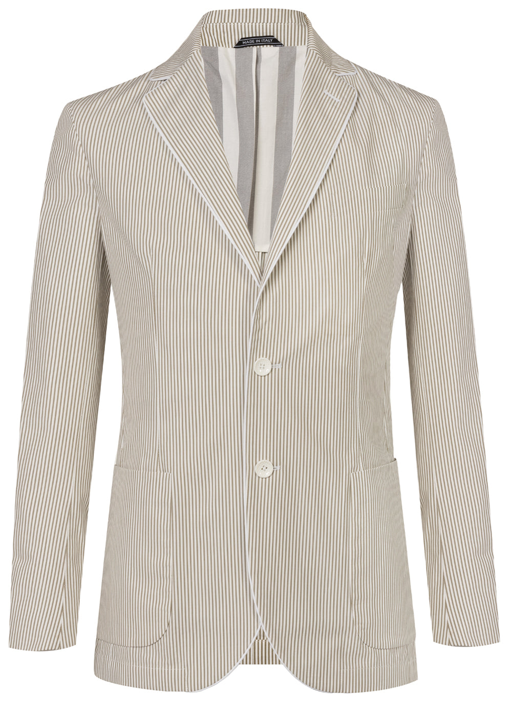 Beige Stripe Piping Lapel Blazer