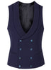 Blue Bi-Stretch Wool Seersucker Double Breasted Waistcoat