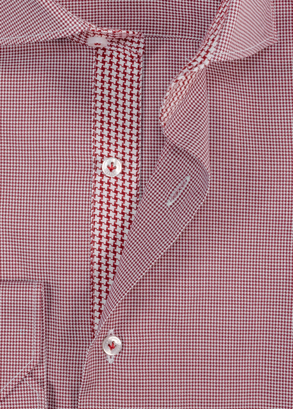 Burgundy Puppytooth Contrast Trim Shirt