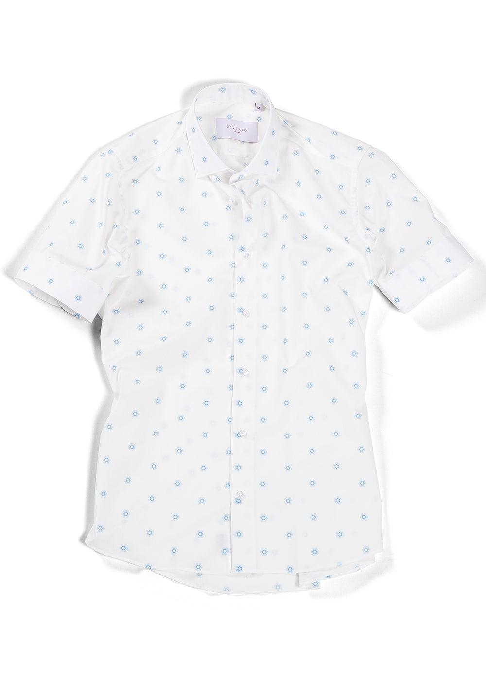White Floral Print Short Sleeve Shirt