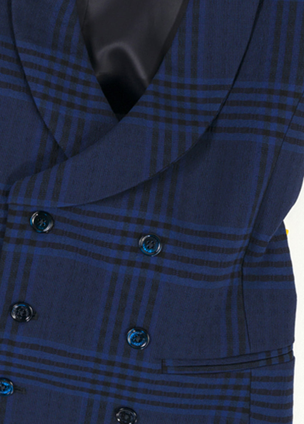 Navy Check Wool Double Breasted Waistcoat