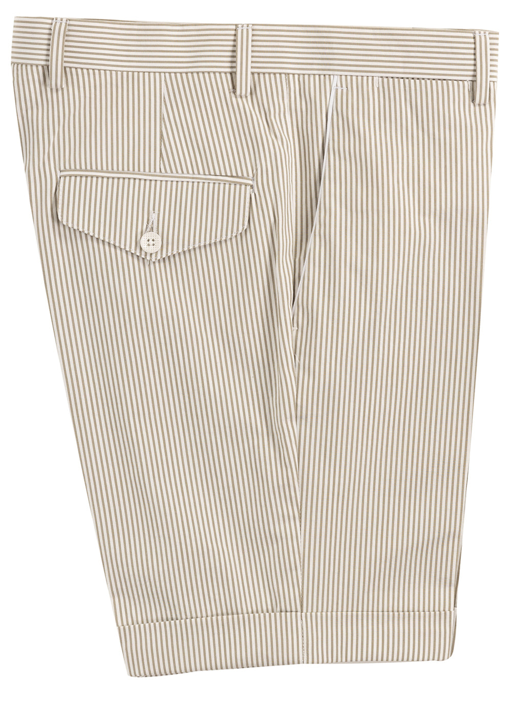 Beige Stripe Piping Shorts