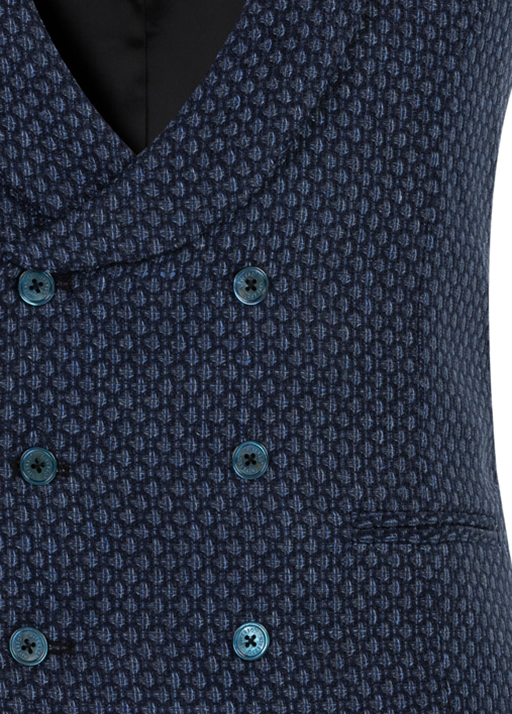 Navy Spot Wool-Silk-Linen Double Breasted Waistcoat