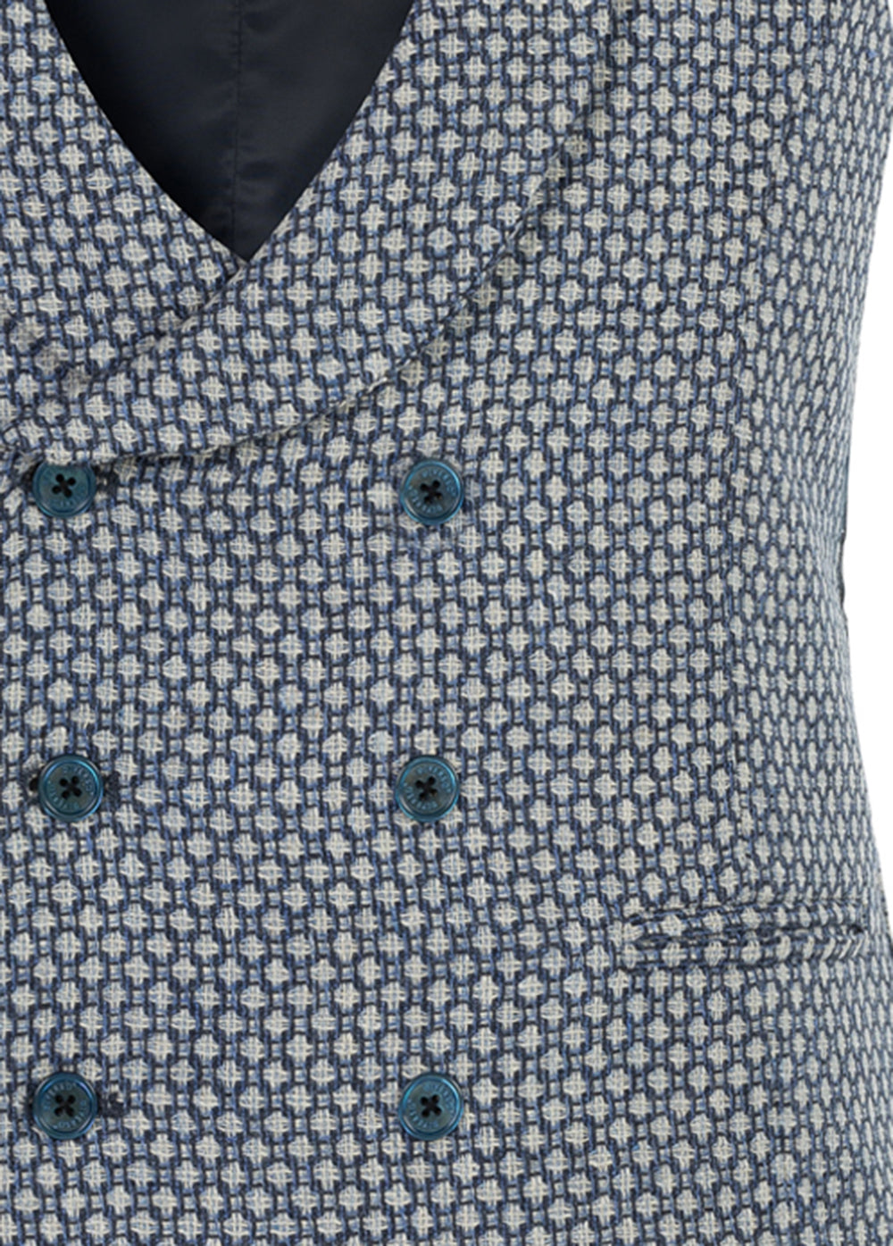 Sky Spot Wool-Silk-Linen Double Breasted Waistcoat