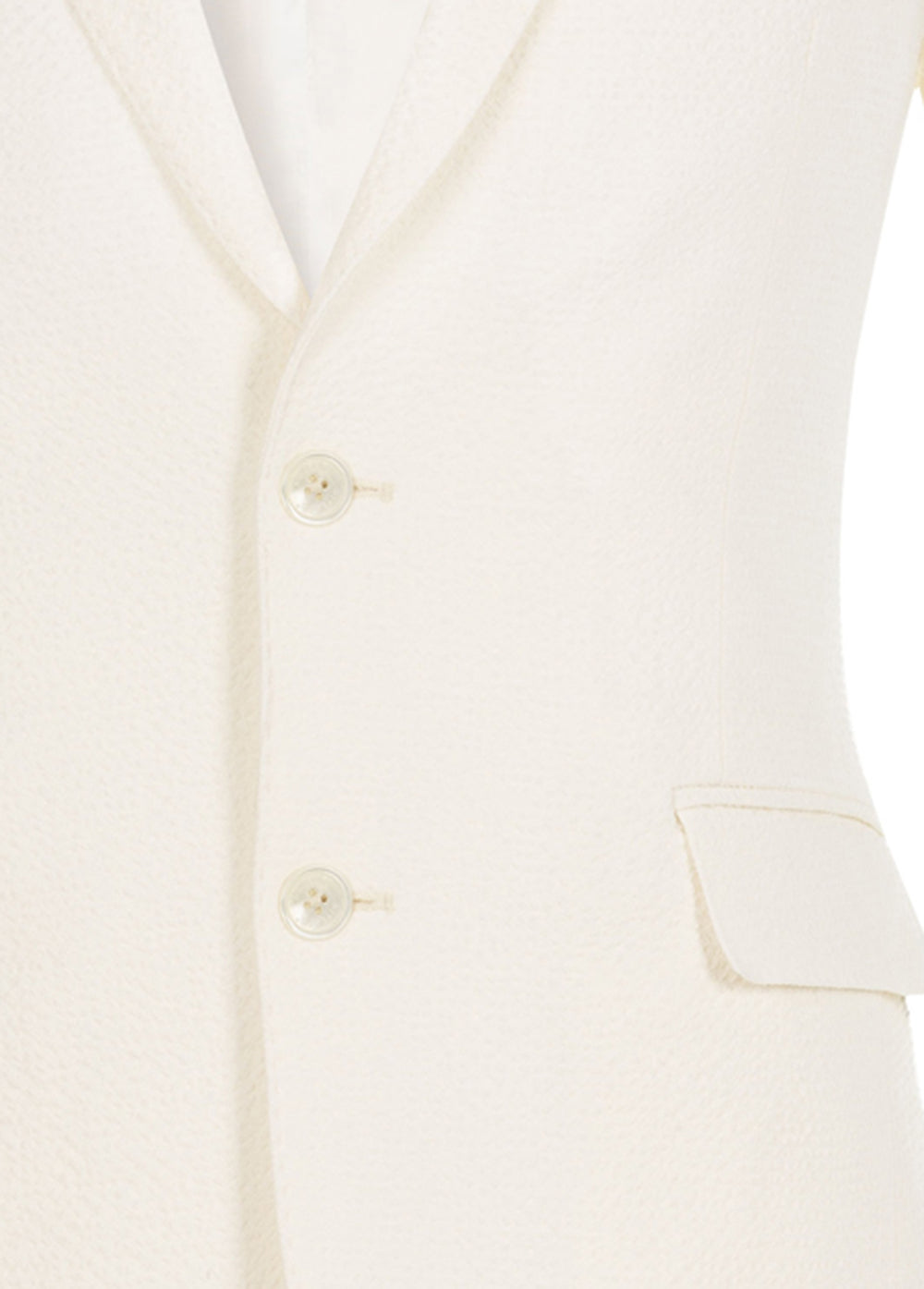 Ivory White Bi-Stretch Wool Seersucker Blazer