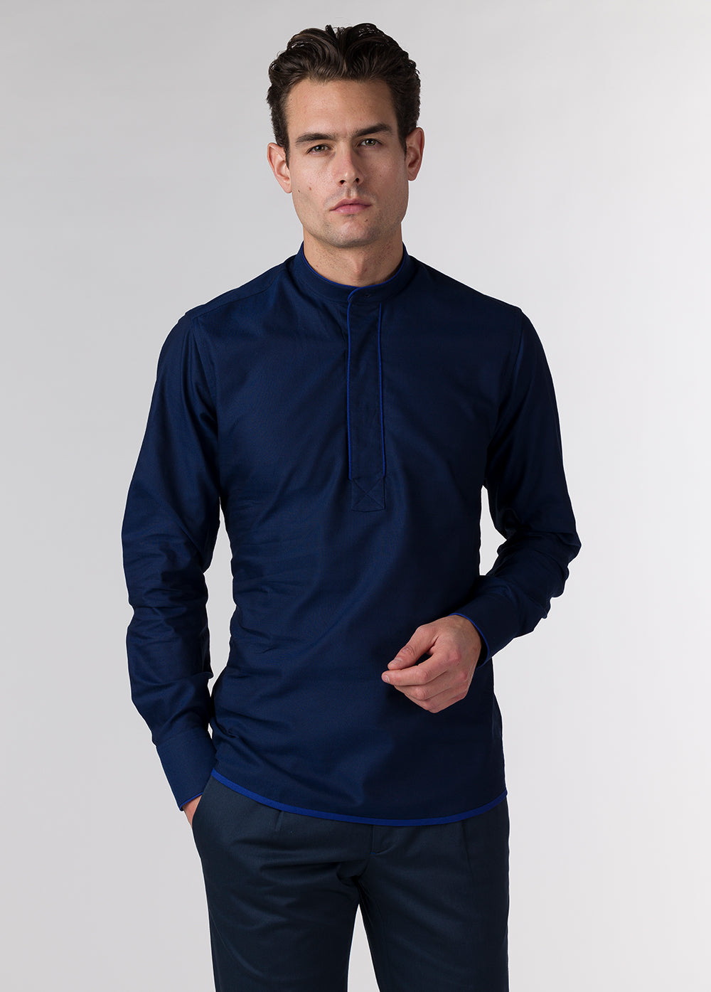 Ink Blue Piping Popover Shirt