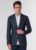 Navy Gun Check Wool Blazer