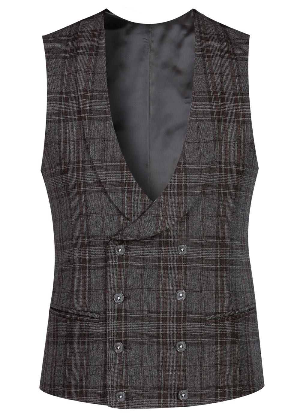 Grey Prince of Wales Double Breasted Shawl Waistcoat