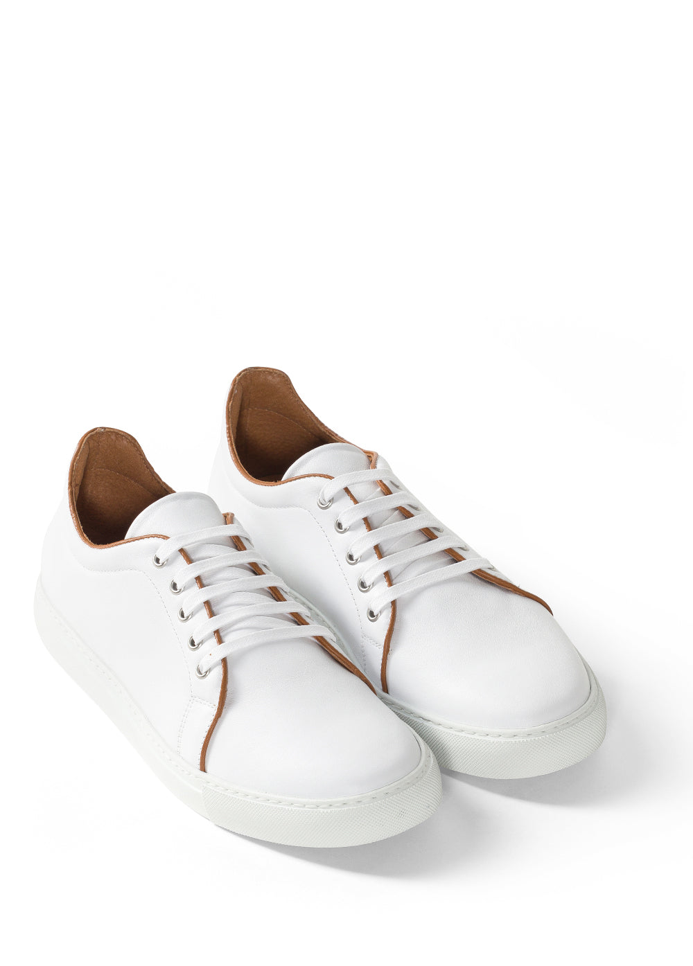 White & Tan Piping Low-Top Sneakers