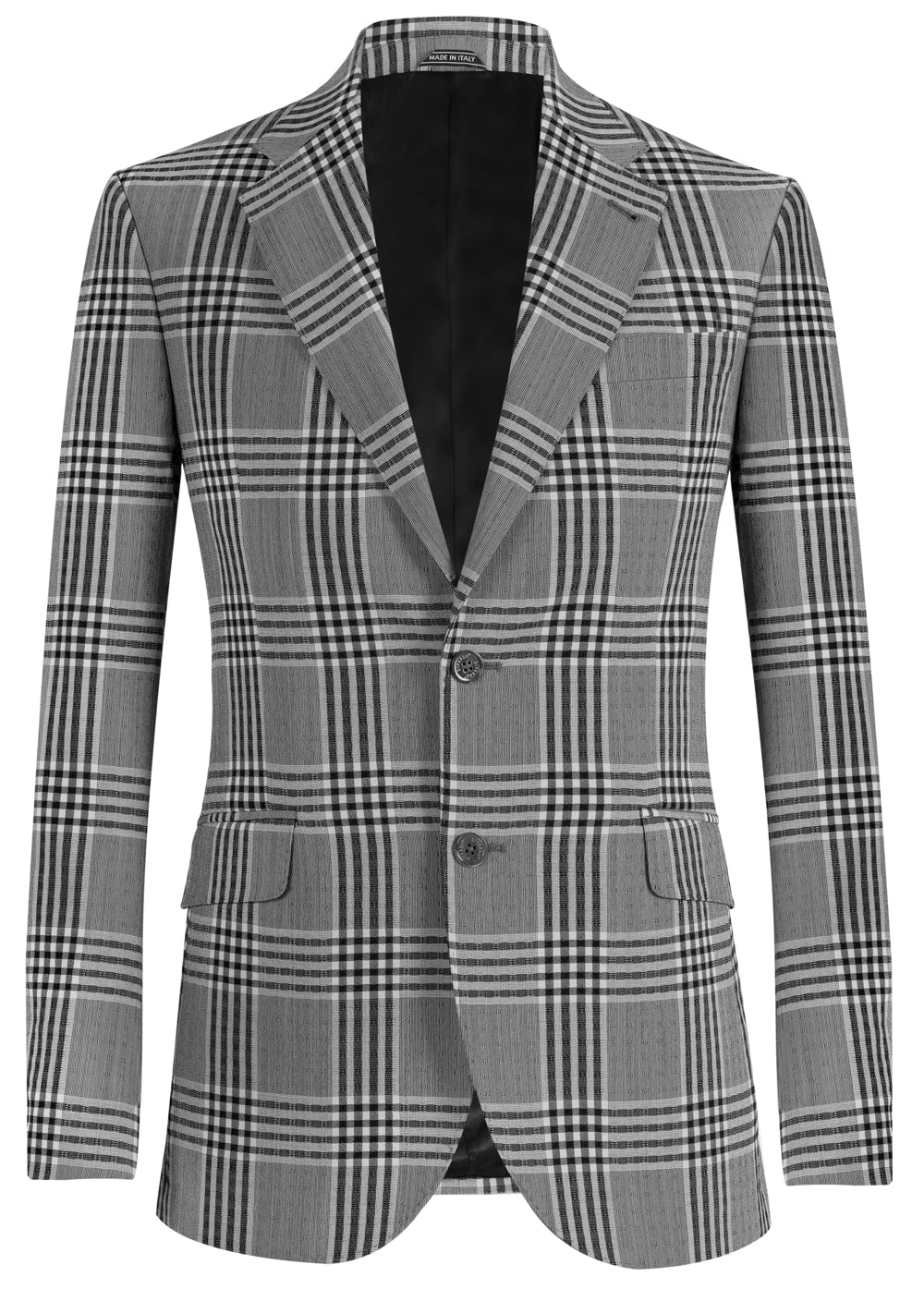Grey Check Wool Seersucker Blazer