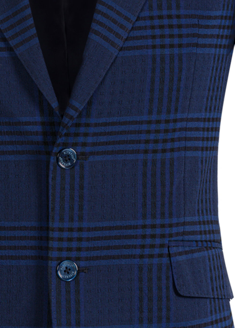 Navy Check Wool Seersucker Blazer