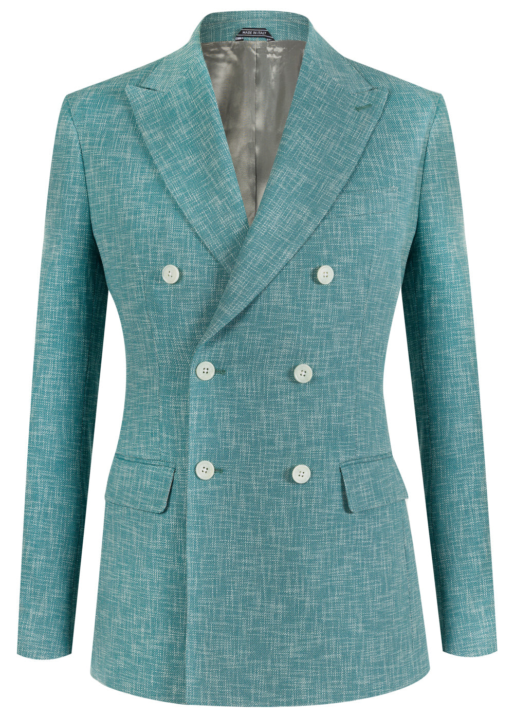 Mint Fleck Double Breasted Wool & Cotton Blazer