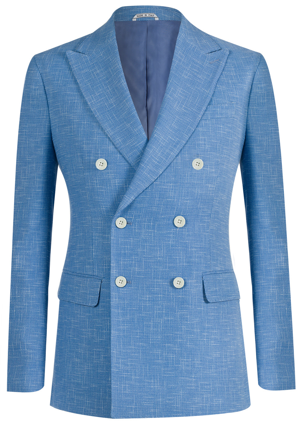 Sky Fleck Double Breasted Wool & Cotton Blazer