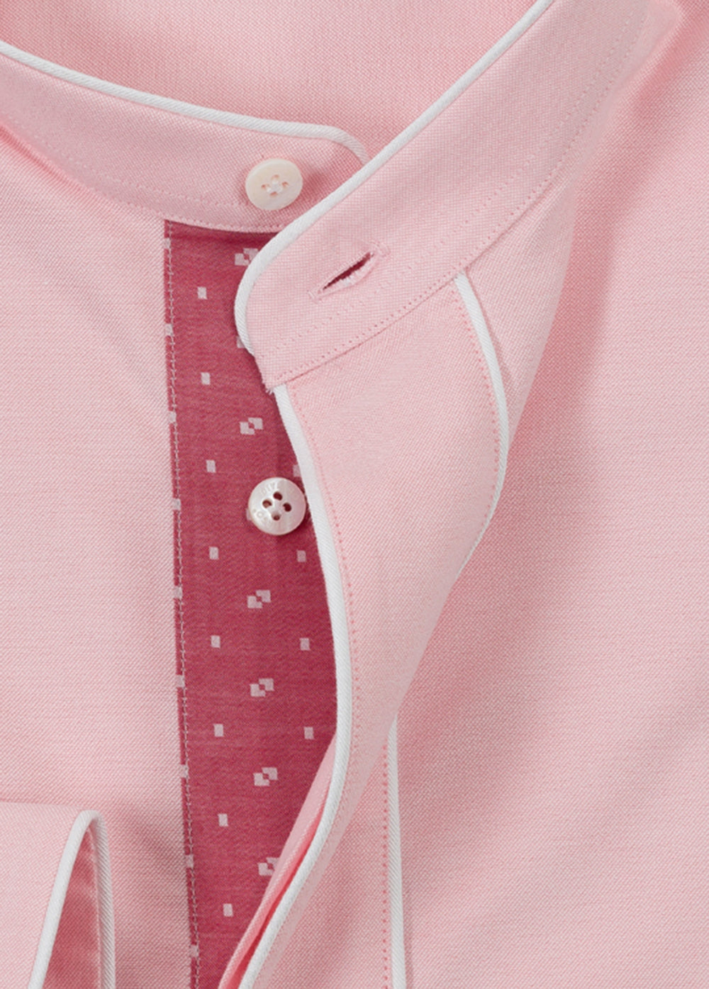 Pink Oxford Piping Popover Shirt