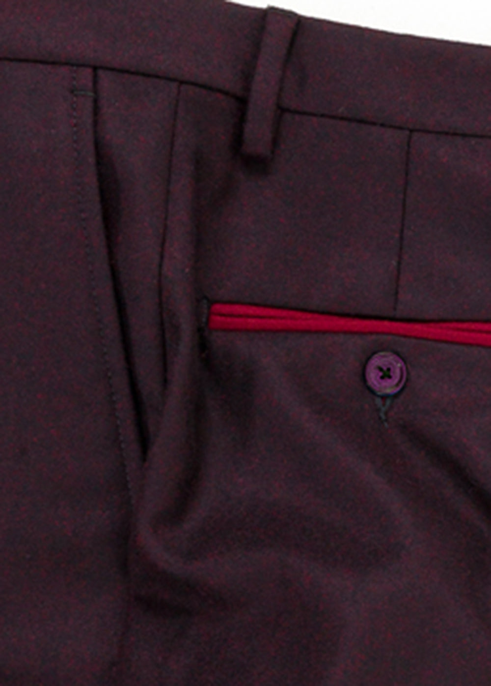 Burgundy Flannel Contrast Wool Pant
