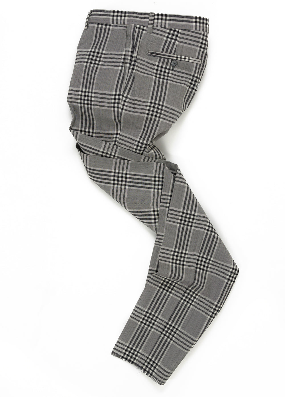 Grey Check Wool Seersucker Pant