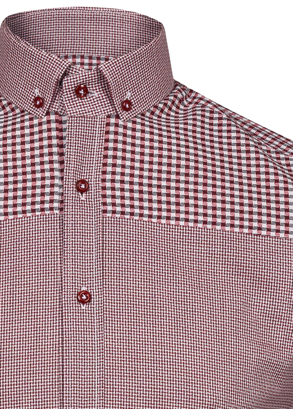 Burgundy Dogtooth Contrast Shoulder Shirt