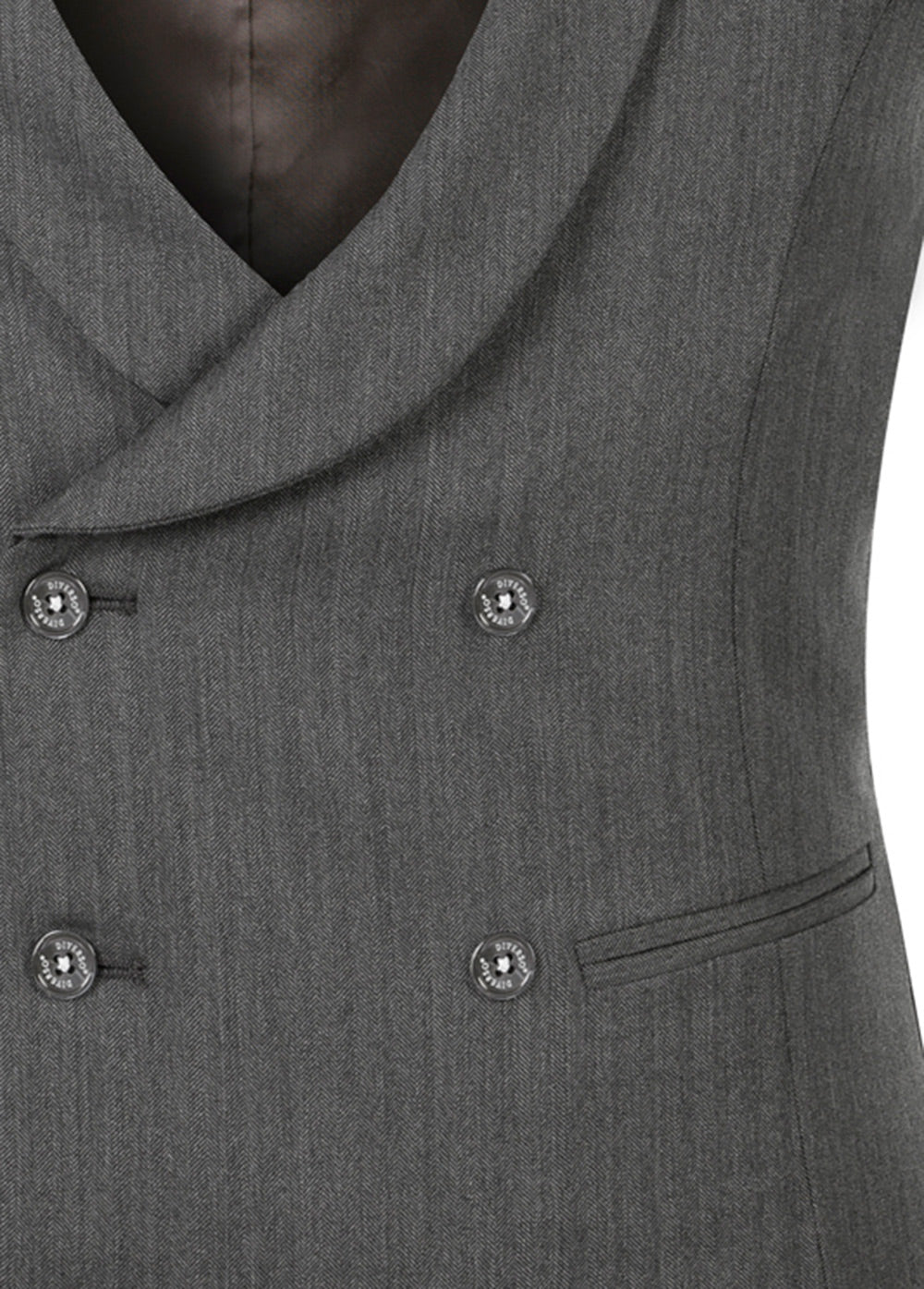 Grey Herringbone Double Breasted Waistcoat