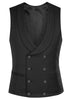 Black Luxury Wool Double Breasted Waistcoat