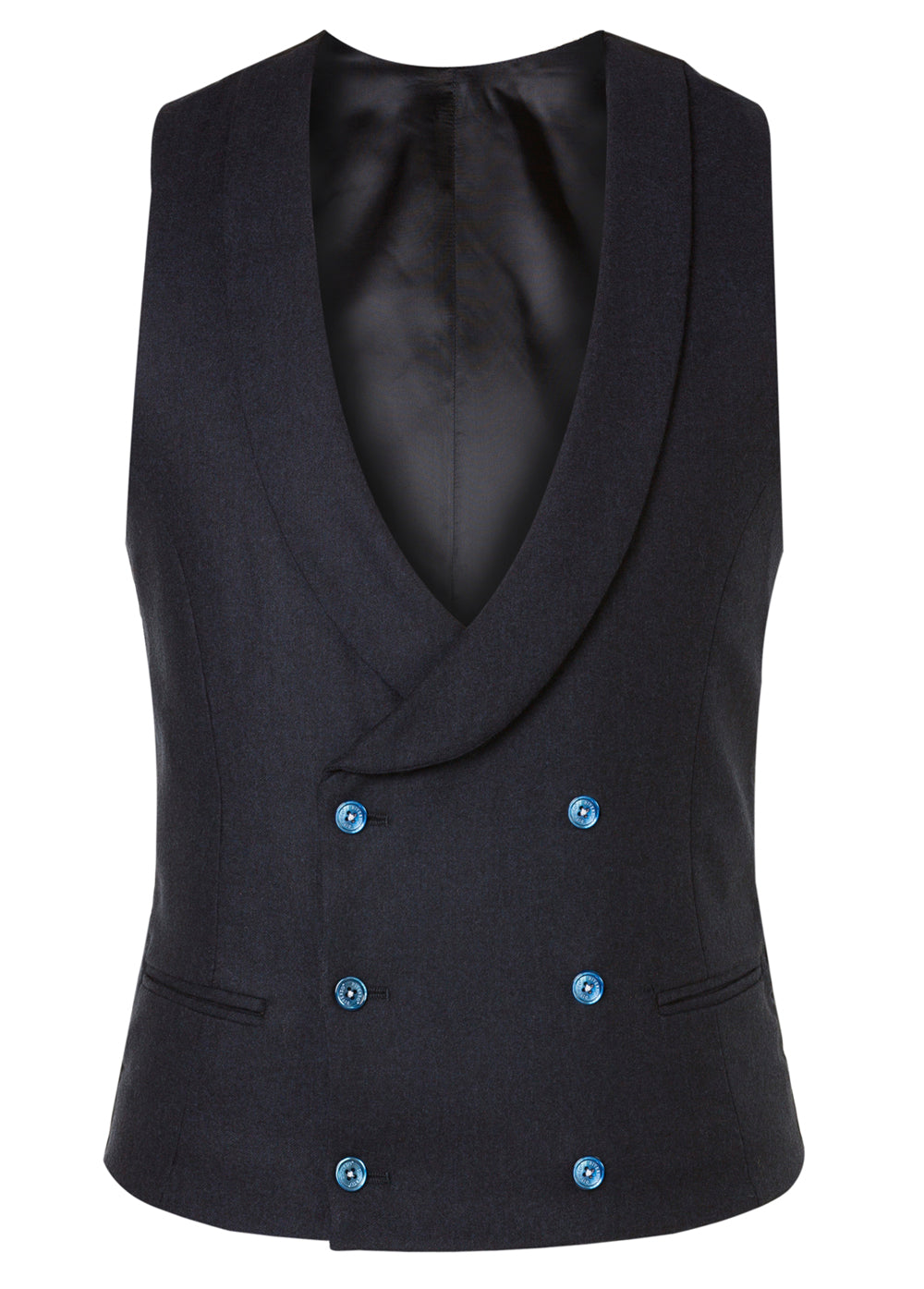 Navy Flannel Double Breasted Waistcoat