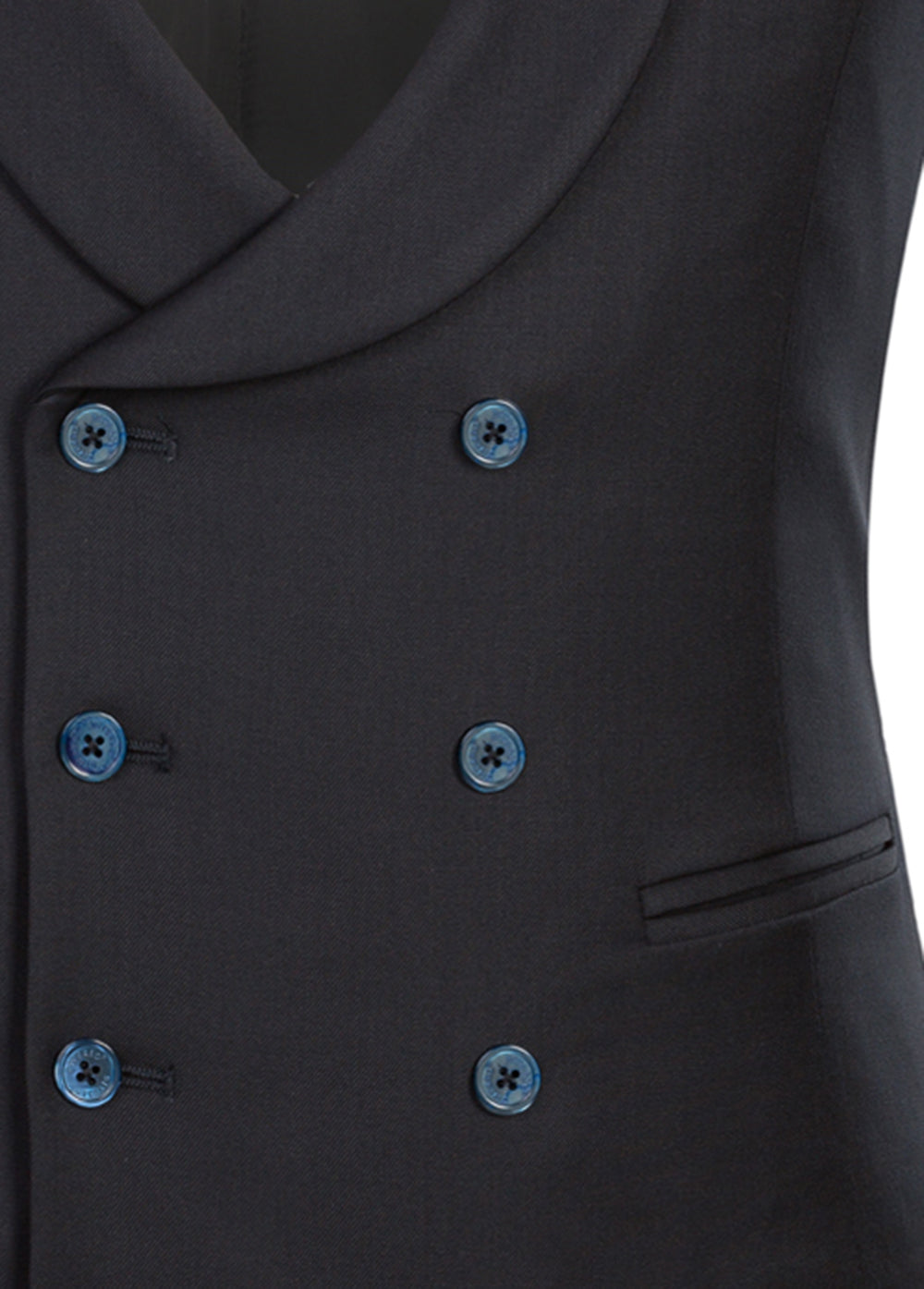 Navy Luxury Wool Double Breasted Waistcoat