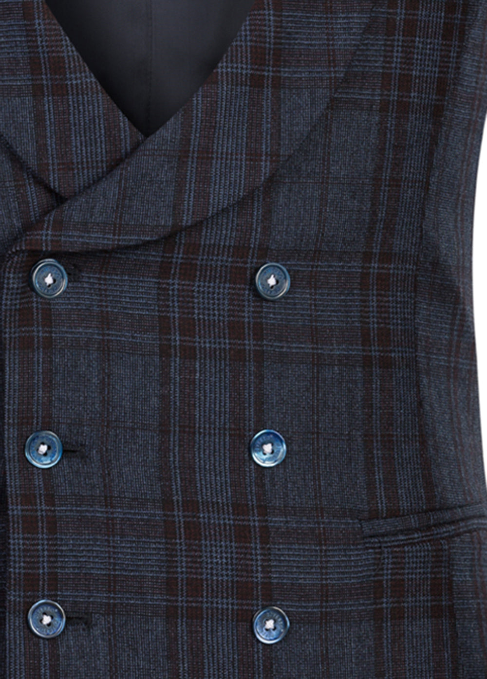 Navy Prince of Wales Double Breasted Shawl Waistcoat