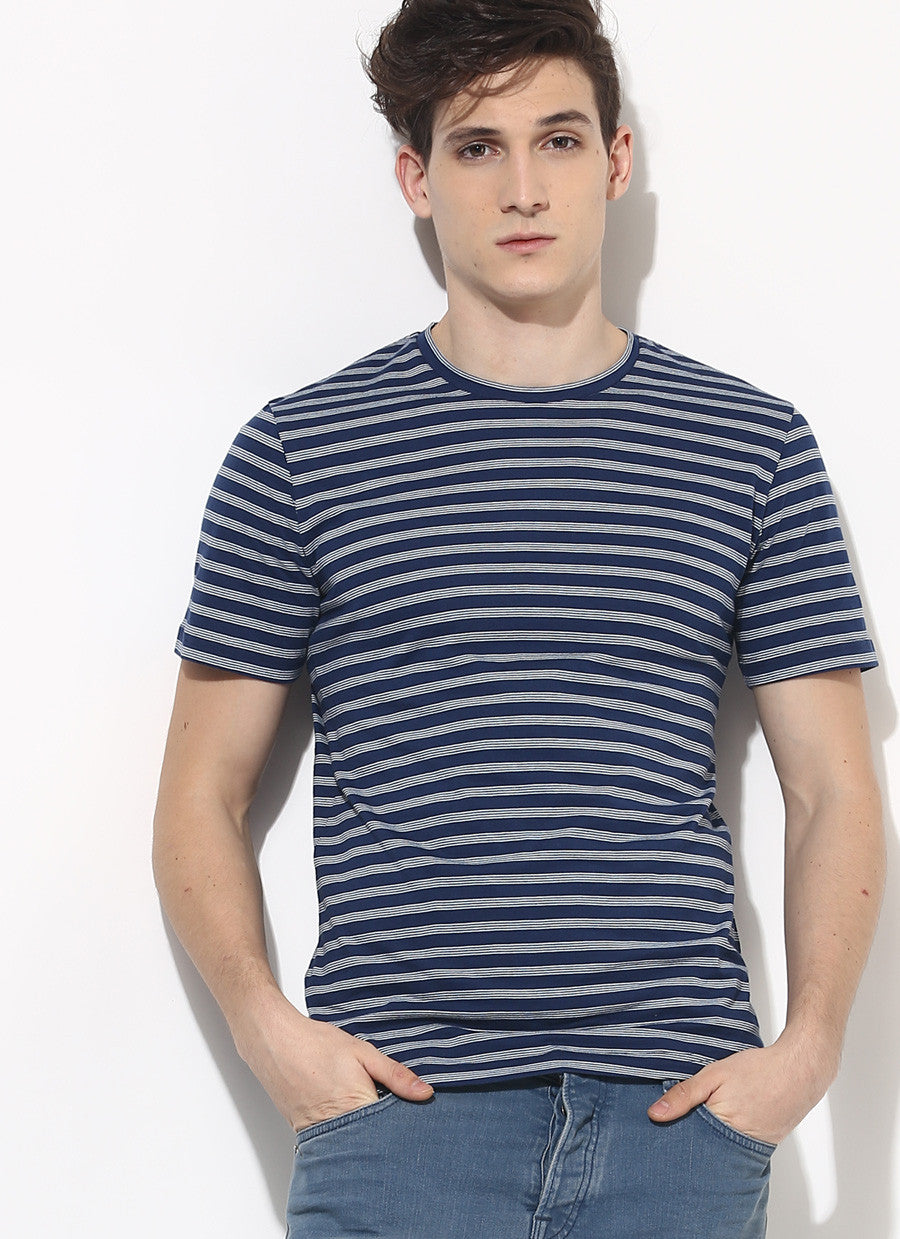 Black and white strip t shirt organic cotton clothing for Blue striped shirt mens