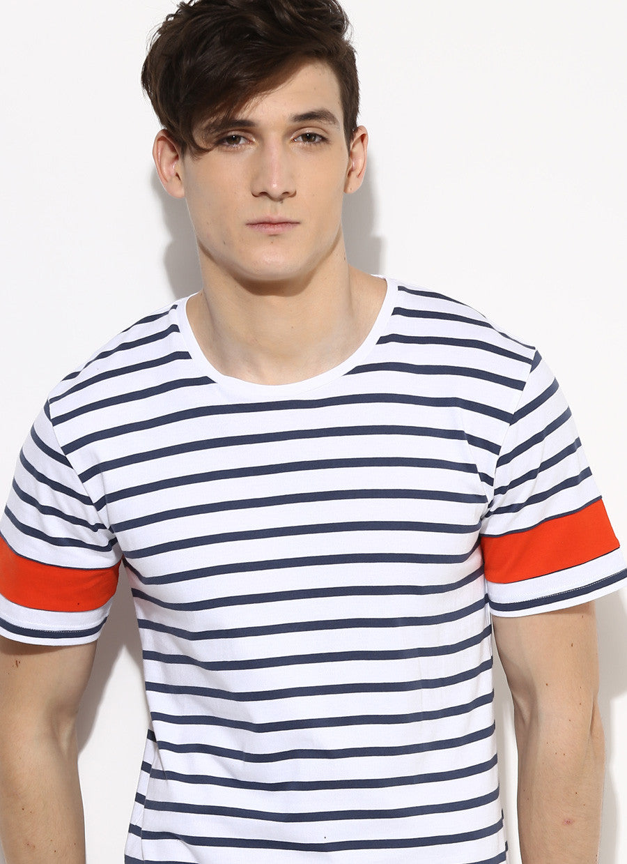 dcfded8493a Men's Organic Cotton Stripe T-Shirt with Orange Sleeves