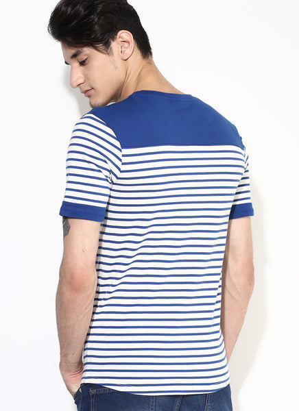 Men S Organic Cotton Blue Stripe Premium T Shirt Brown