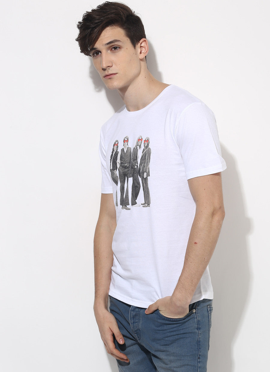 The beatles t shirt organic cotton white t shirt for Banded bottom shirts canada