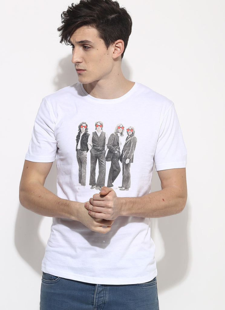 The beatles t shirt organic cotton white t shirt for Sustainable t shirt printing