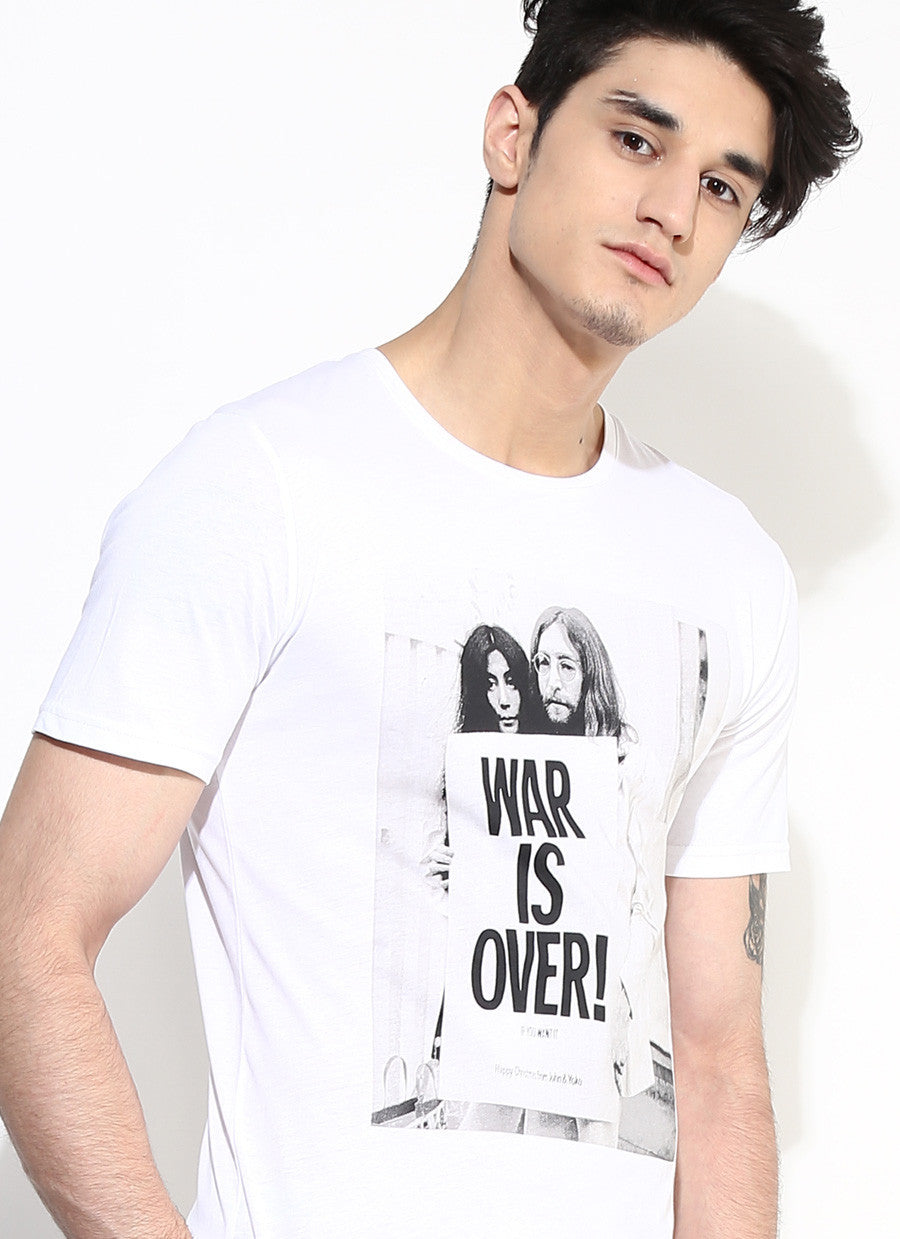 Mens Organic Cotton White T Shirt With Graphic Print Sustainable