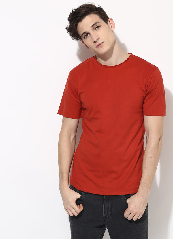 mens organic cotton plain tshirt in berry sustainable