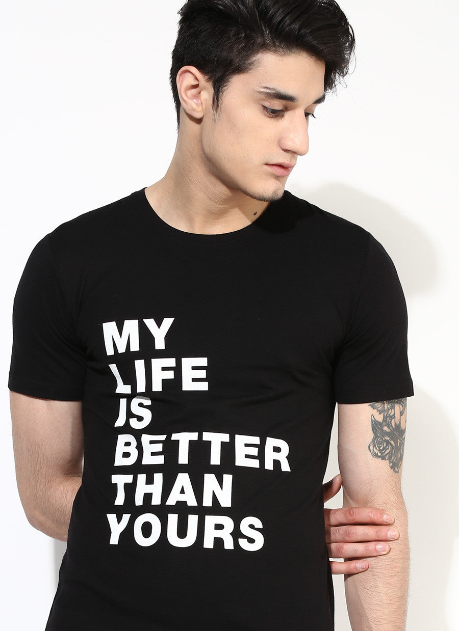 Black t shirt man - Men S Organic Cotton Black T Shirt With Chest Print Brown Boy India Men S