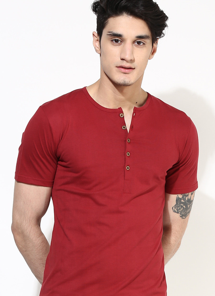 Organic Cotton Red Henley T Shirt With Buttons Gifts