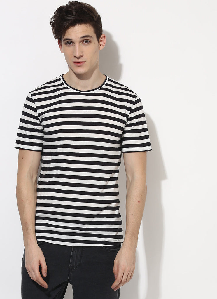 Black and white strip t shirt organic cotton clothing for Black brown mens shirts