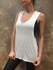 Tough Luv Twisted Open Back White Tank