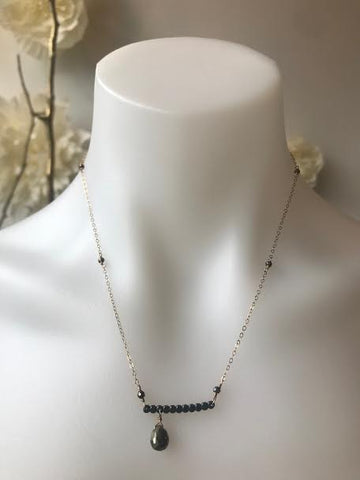 Vannuci Gunmetal Teardrop Bar Necklace
