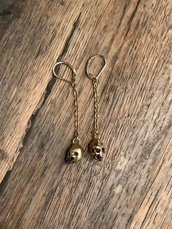 Hellhound Jewelry Baby Skull Chain Earrings