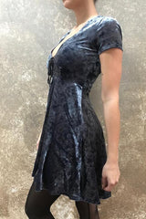 Tough Luv Corset Neck Crushed Velvet BabyDoll Dress in Slate