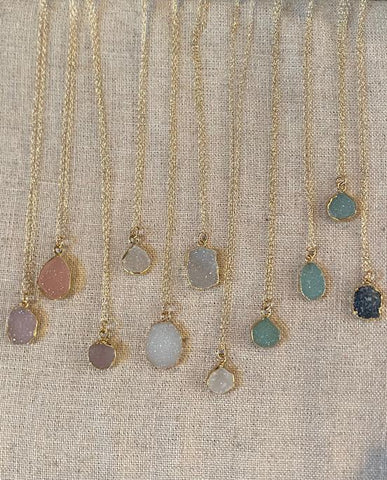 Susan Rifkin Gold Druzy Teardrop Necklace (Multiple Colors!)