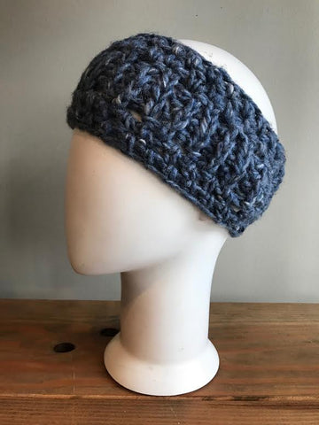 April Hand Crochet Blue Metallic Woven Ear Warmer