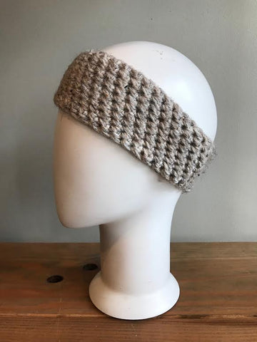 April Hand Crochet Oatmeal Woven Ear Warmer