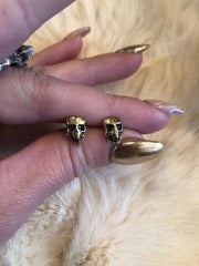 Hellhound Jewelry Baby Skull Studs in Gold
